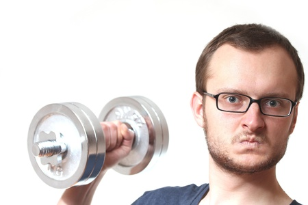mad funny guy lifting a dumbbell photo