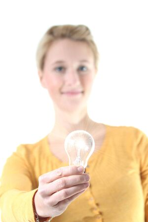 girl with glowing light bulb photo