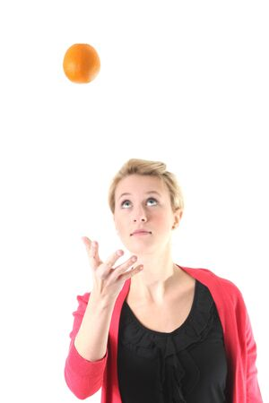 woman juggling with an orange photo