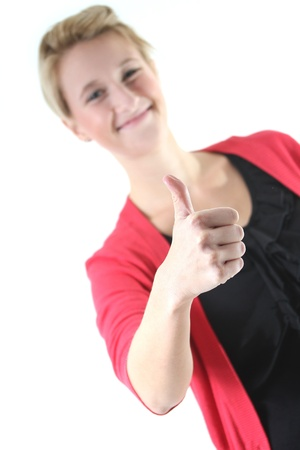 woman showing thump up Stock Photo - 15528410