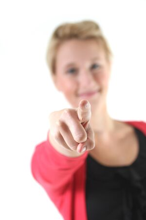 woman pointing at the screen Stock Photo - 15528398