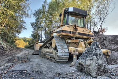 a bulldozer as hdr picture photo