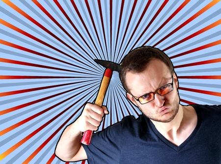 agressive: agressive guy with hammer Stock Photo