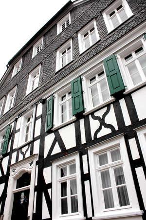 fachwerk: a german fachwerkhaus village in the evening