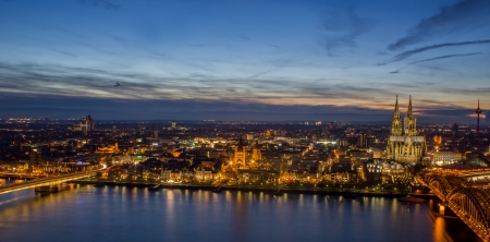 cologne: cologne cityscape at night Stock Photo