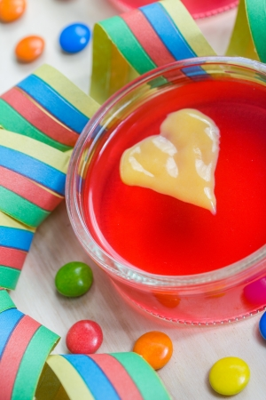 wobble: party wobble pudding with vanilla heart Stock Photo