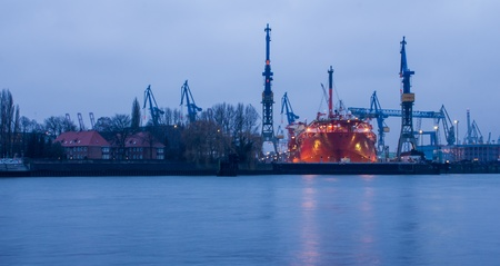 Hamburg harbour ship dock in the evening photo