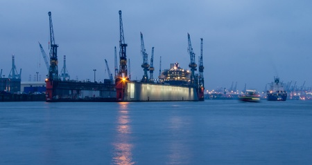 Hamburg harbour ship dock in the evening Editorial