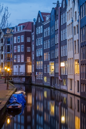 gabled house: Amsterdam Gracht at the evening Stock Photo