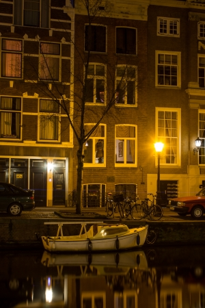 Amsterdam Gracht at night photo