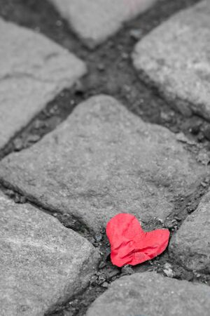 red shiny heart with selective color