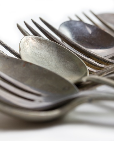 tarnished: old cutlery Stock Photo