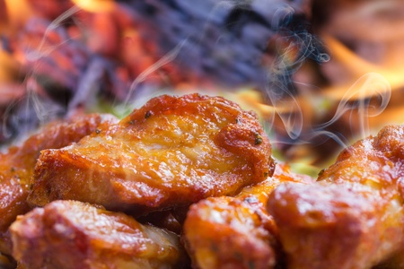steaming hot chicken wings photo