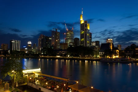 city evening in Frankfurt Germany photo