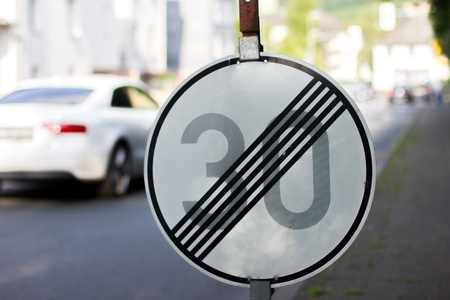 city limit: german no 30 speed anymore sign Stock Photo