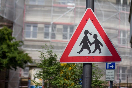 school kids crossing sign photo