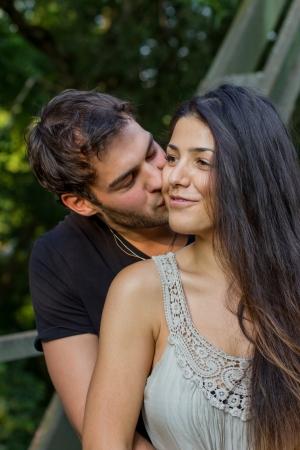 beard woman: beautiful young couple in love Stock Photo