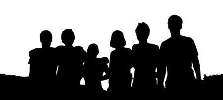 people silhouettes black and white photo