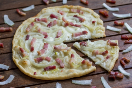 selfmade Flammkuchen Stock Photo
