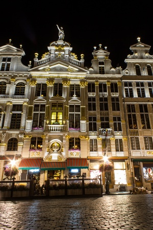 guild halls: brussels grand place guild houses at night