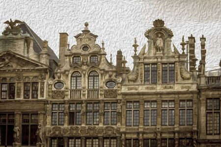 guild halls: brussels grand place guild houses painting style