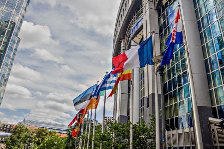 국가 플래그와 브뤼셀에서 유럽 연합 (EU) 의회 건물