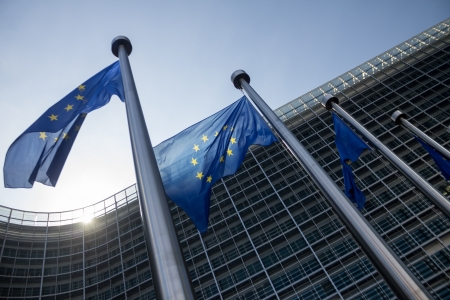 EU Commission building Europe Flags in Brussels