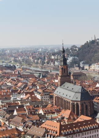 Heidelberg old city panorama view photo