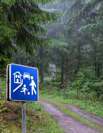 play street sign in the forest photo
