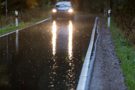 bad accident: dangerous bad weather car driving Stock Photo