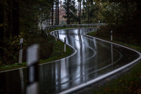 rainy countryside street