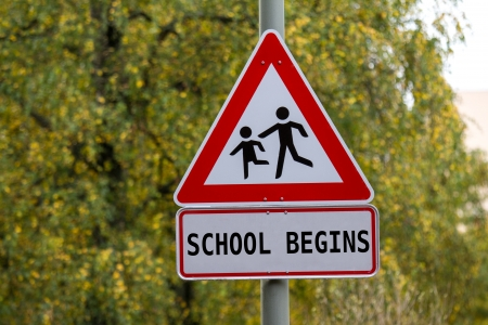 begins: school begins sign