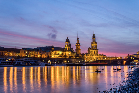 the old city of Dresden at sundown photo
