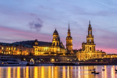 pink sunset: the old city of Dresden at sundown