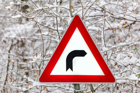 right turn winter sign photo