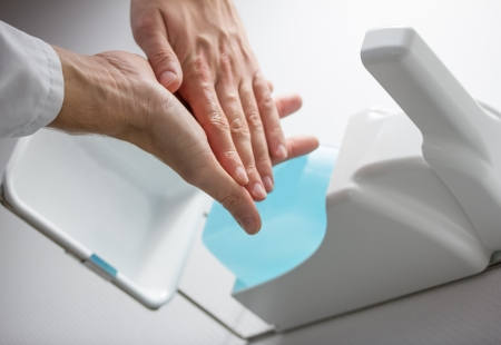 lather: disinfect hands Stock Photo