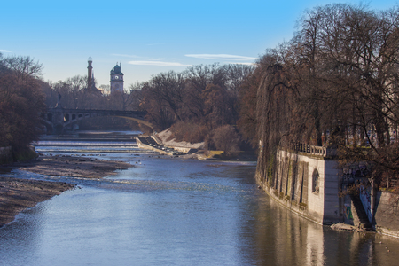 Isar river in munich photo