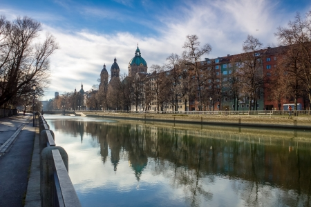 Isar river in munich Stock Photo