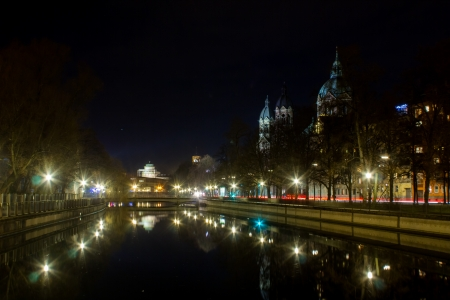 Isar in munich at night photo