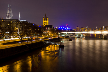 cologne city at night photo