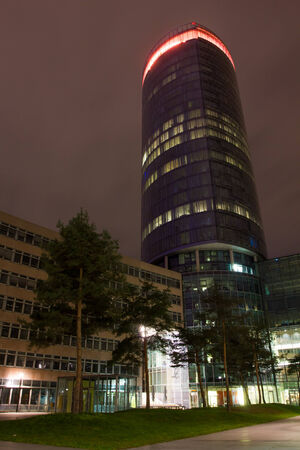 highriser: cologne city triangle tower at night Stock Photo