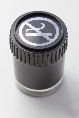 non smoking: black colored pot with a non smoking symbol Stock Photo