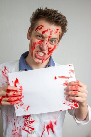 crazy funny guy covered in blood photo