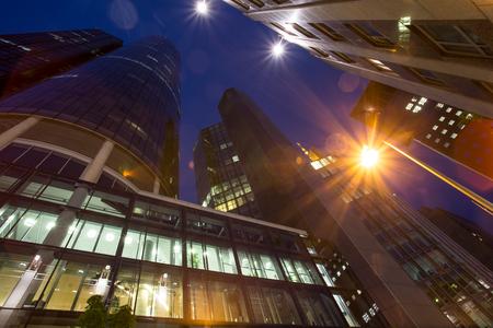 frankfurt city skyscraper at night photo