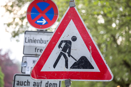 german construction site sign