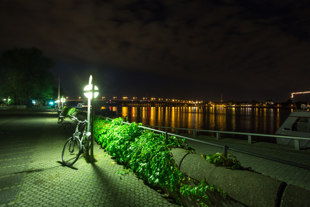 main river: main river in mainz at night Stock Photo