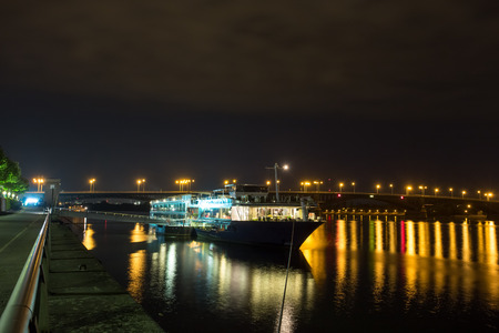 inland: main river in mainz at night Stock Photo