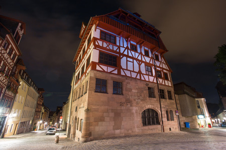 bayern old town: Albrecht Duerer House Nuernberg at night