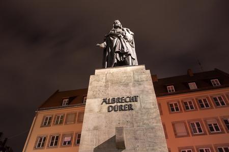 albrecht: albrecht duerer statue nuernberg at night