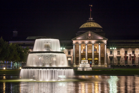 kurhaus in wiesbaden germany at night